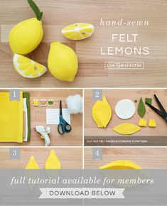 The Cutest Felt Lemons & Lemon Slices - Lia Griffith - - The perfect pop of yellow for your dining room table or a fun craft for pretend play — the choice is yours! Learn how to craft these cute lemons with our DIY template and tutorial. Felt Diy, Handmade Felt, Felt Crafts, Fabric Crafts, Sewing Crafts, Felt Food Patterns, Loom Patterns, Felt Fruit, Felt Play Food