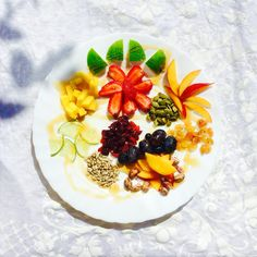 Fruit Salad with seeds and Thassos Pine Honey Cranberries, Original Recipe, Pistachio, Peaches, Raisin, Fruit Salad, Kids Meals, Panna Cotta, Pine