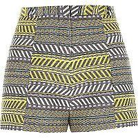 Yellow print jacquard high waisted shorts