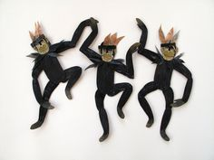 Black Chimps with Headress / Monkey Articulated by benconservato