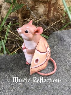 Moth Mouse Animal Pal Handmade Ooak Polymerclay Sculpture by Mystic Reflections Polymer Clay Creations, Moth, Mystic, Sculpture, Christmas Ornaments, Holiday Decor, Handmade, Animals, Hand Made