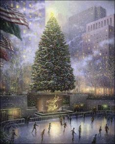 Thomas Kinkade Christmas in New York art painting for sale; Shop your favorite Thomas Kinkade Christmas in New York painting on canvas or frame at discount price. New York Christmas, Christmas Scenes, Noel Christmas, Vintage Christmas, Christmas Lights, Winter Christmas, Christmas Lodge, Christmas Villages, Christmas Shopping