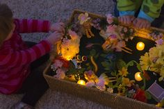 "Love the addition of the battery-operated night-lights to the 'In the Fairy's Night Garden' small world play. from Small Potatoes ("",) Night Garden, Garden S, Sensory Boxes, Sensory Tubs, Sensory Play, Small World Play, Creative Play, Imaginative Play, Toddler Activities"
