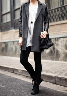 Dark Grey Leather-Sleeve Coat - Vintage Inspired Coat