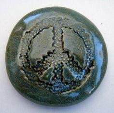 FLOWER PEACE SIGN Pocket Stone  Ceramic  Antique by InnerArtPeace, $7.00
