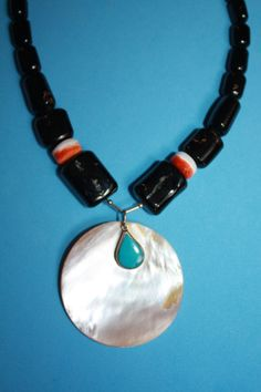 @@@@BlackCoral4you Black Coral-Mother of Pearl-Spondylus-Turquoise and Sterling Silver / Coral Negro-Madre Perla-Spondylus-Turquesa y Plata de Ley