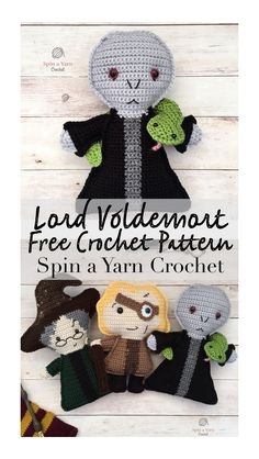 Lord Voldemort Crochet Pattern – Crochet World Crochet World, Crochet Geek, Cute Crochet, Crochet Crafts, Crochet Yarn, Yarn Crafts, Easy Crochet, Lord Voldemort, Knitting Projects