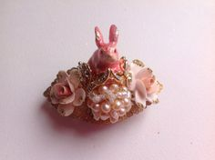 Victorian Easter rabbit ring, My Pink Bunny, enamel bunny, porcelain flowers, Swarovski cristals, blush pink baroque beads
