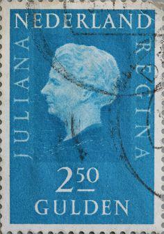 Nederland postzegel met Juliana, 2,50 gulden