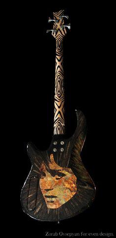 """Glam Rock Supernova"" working bass done in mixed-media artwork"