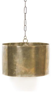 Large Antique Brass Steel Drum Light | industrial pendant light fixture