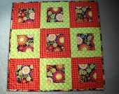 Beautiful Bright Flowers Quilted Table Topper, Wall Hanging