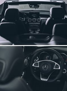 The interior of the Mercedes-Benz C-Class Cabriolet – modernity meets lifestyle. Photos by Oliver Roggenbuck (www.roggenbuck-photodesign.de) for #MBsocialvar [Mercedes-AMG C 43 4MATIC | Fuel consumption combined: 8.4–8.3 l/100km | combined CO₂ emissions: 194–190 g/km | http://mb4.me/efficiency_statement]