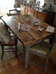 4ft Rectangle Kitchen Table made from reclaimed scaffold boards, painted in Loft in Home, Furniture & DIY, Furniture, Tables | eBay