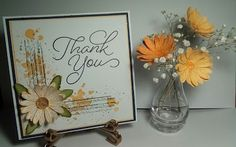 Pretty 'Thank you' card made using the New 'Daisy Delight' stamp set and matching Punch. Vase of flowers made with the same stamp/punch. Flower Planters, Flower Vases, Flowers, Thank U Cards, Stamping Up Cards, Stampin Up, Daisy, Projects To Try, Card Making