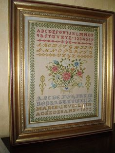 A 19th Century FRENCH Sampler Stitched By Marie Levillain & Dated 1873