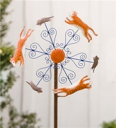 Cat And Mouse Metal Wind Spinner