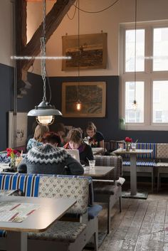 NLD, The Netherlands, Amsterdam, Polonceaukade 2, cafe and restaurant Bakkerswinkel, De Bakkerswinkel have placed a lot of emphasis on the relationschip between food, surroundings and people. Interior design and fitting by Piet Hein Eek Restrictions: not model released. Image number: 134BS20110228D9220  Keywords Amsterdam, The, Netherlands, Bakkerswinkel, bakery, cafe, restaurant, gastronomy, Piet, Hein, Eek, table, wood, timber, bench, textile, customer, guest, customers, guests  Lightbox…