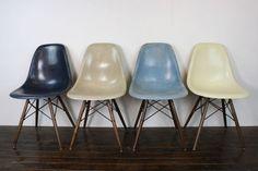 Eames Herman Miller DSW side chairs in blues