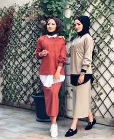 Image may contain: 4 people, people standing and shoes Niqab Fashion, Modest Fashion Hijab, Batik Fashion, Hijab Style, Casual Hijab Outfit, Hijab Chic, Skirt Fashion, Fashion Outfits, Fasion