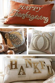 Here's a quick, easy way to put out a make-yourself-at-home vibe for Thanksgiving. Just display an inviting assortment of harvest pillows from Pier Hosting Thanksgiving, Thanksgiving Celebration, Thanksgiving Decorations, Thanksgiving Signs, Harvest Decorations, Thanksgiving Birthday, Happy Thanksgiving, Fall Pillows, Orange Pillows