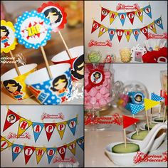 Wonder super hero happy birthday party banner party kit printable invitations wrappers labels toppers cupcake woman girl. $26.99, via Etsy.