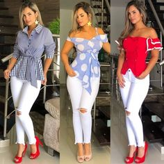 Blouse with white jeans ladiesblouse fallfashion fashiontrend fashionstyle fashionwear outfit streetstyle Fashion Wear, Women's Fashion Dresses, Look Fashion, Autumn Fashion, Classy Outfits, Chic Outfits, Dress Outfits, Jumpsuit Dress, African Fashion
