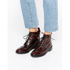 Office Anagram Brogue Lace Up Leather Ankle Boots (£58) ❤ liked on Polyvore featuring shoes, boots, ankle booties, red, red leather boots, low heel ankle boots, lace up boots, short leather boots and red boots