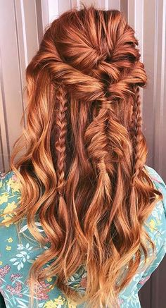 Twisted Half Updo with Messy Braids red hair styles 21 Popular Homecoming Hairstyles That'll Steal the Night Bohemian Hairstyles, Diy Hairstyles, Pretty Hairstyles, Wedding Hairstyles, Messy Braided Hairstyles, Hairstyles For Fall, Pirate Hairstyles, Redhead Hairstyles, Night Hairstyles