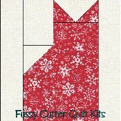 Christmas Cats Grab Bag Fabric Easy Pre-Cut Quilt Block Kit