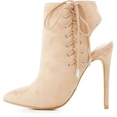 Charlotte Russe Corset Lace-Up Slingback Booties (€19) ❤ liked on Polyvore featuring shoes, boots, ankle booties, nude, sexy lace up boots, sexy boots, laced up boots, slingback booties and pointed toe lace up boots