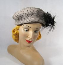 Vintage 1940s 40s Hat Grey Felt Tricorn Asymmetrical Pillbox with Ostrich Feather New York Creations