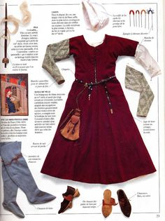 Great collage of the layers of 14th century garb. Love the detail of the hair…