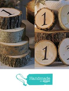 Chalkboard Table Numbers, Log Slice table numbers, Wood table ...