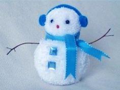 Snowman POM-POM - Снеговик . - Поделки с детьми   Деткиподелки
