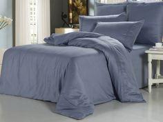 Элитное сатиновое постельное белье из суперсатина, xr-3 Однотонное, голубая сталь, синее. Отделка мережкой. Размеры, описание, характеристики, низкие цены, доставка.