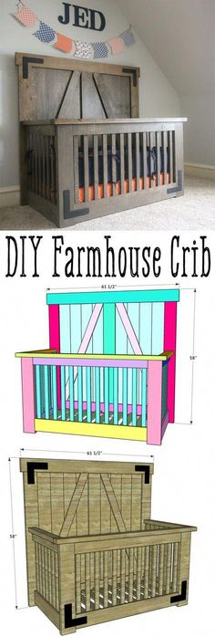 LOVE this DIY Farmhouse Crib by Free plans and tutorial on how to build your own crib. furniture farmhouse DIY Farmhouse Crib - Free Tutorial and Plans - Shanty 2 Chic