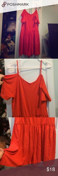 ASOS off the shoulder romper with wide shorts! Super cute and super comfy bright orange romper from ASOS. Size large, stretchy and roomy! Never worn, with tags. Very cute and comfy for the summer ASOS Pants Jumpsuits & Rompers
