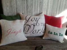 Christmas burlap pillows