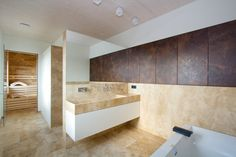 Bad mit Sauna nähe Mauthausen Corner Bathtub, Bathroom, Sauna, Travertine, Hidden Closet, Full Bath, Stones, Washroom, Bath