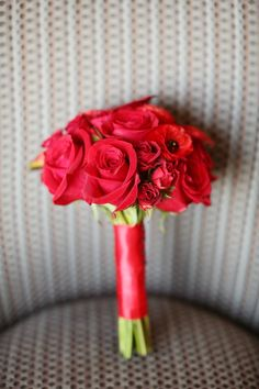 Beautiful Blooms - Bright Red Bridesmaids Bouquet