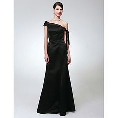 TS Couture® Formal Evening / Military Ball Dress - Open Back Plus Size / Petite Trumpet / Mermaid One Shoulder Floor-length Satin with Bow(s) – USD $ 69.99