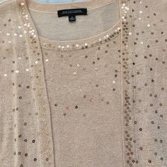 NWT Peach Sequin Cardigan Set Women's size small. Shell insert is attached to outer sweater. Beautiful peachy tan color with gold metallic threading throughout. Women's size small. New with tags. ⚡Will not be priced lower. ❌No offers❌ Notations Sweaters
