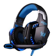 """REVIEW"" [New Model Fashion Gaming Headset Game Headset Headphone Earphone] BenGoo EACH G2000 Professional Noise Canelling 3.5mm PC Stereo Headband Gaming Headsets Gaming Headphone Earphones with MIC Volume/LED Lights/Voice Control Microphone HiFi Driver For Laptop Computer Skype Online Chatting-Blue"