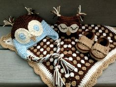 """Owl baby set w/ hat, slippers and Owl """"lovey"""" blanket. Free pattern to make the lovey blanket can be seen here: http://jessieathome.com/2012/11/owlet-lovey.html"""