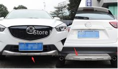 91.25$  Watch now - http://ali15c.worldwells.pw/go.php?t=32505605349 - Aluminium Alloy! For Mazda CX-5 2012-2015 Front & Rear Bumper Skid Protector Guard 2pcs / set
