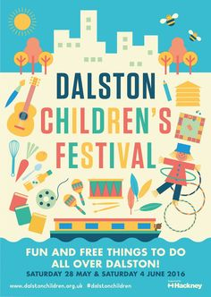 [] Dalston Children's Festival Guide and Map Design. [] Layout, typography and design. Illustration by Anna Dunn. [] For Hackney council commissioned by Studio Anorak. Poster Sport, Poster Cars, Poster Retro, Family Events, Kids Events, Poster Festival, Film Festival, Event Poster Design, Event Posters
