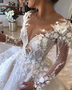 "If the words ""gorgeous long sleeve wedding dress"" set your heart racing, you're in for a treat. Find your perfect long-sleeve wedding dress! Stunning Wedding Dresses, Dream Wedding Dresses, Bridal Dresses, Wedding Gowns, Wedding Tips, Wedding Ceremony, Wedding Tables, Wedding Outfits, Budget Wedding"
