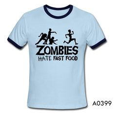 """Zombies """"Hate Fast Food"""" Short Sleeve Cotton T-shirt"""