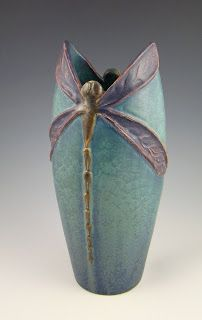 Ephraim Faince Pottery - special numbered edition vase with a dragonfly motif exclusively for Century Studios in St. Paul, MN.